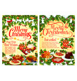 christmas party festive dinner dish greeting card vector image vector image