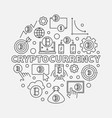 cryptocurrency round outline vector image vector image
