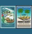 cuba travel posters havana caribbean beach vector image