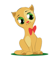 cute cartoon cat with bow vector image vector image