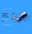 delivery online tracking banner with truck vector image