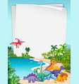 dinosaur in nature paper theme vector image