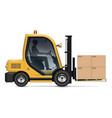 forklift with carton boxes on pallet vector image vector image