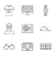 gangsta rap icon set outline style vector image vector image