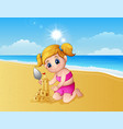 girl making sand castle at the beach vector image vector image