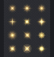 glowing stars realistic lighting shining effects vector image vector image