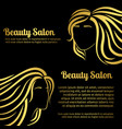 gold girls hair silhouettes salon banners set vector image vector image