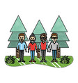 grated happy men friends with pine trees vector image vector image