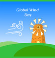greeting card of global wind day vector image vector image