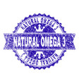grunge textured natural omega 3 stamp seal with vector image vector image