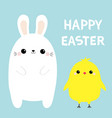 happy easter bunny chicken bird set white rabbit vector image vector image