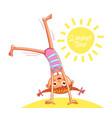 happy little girl doing cartwheel on sea beach vector image vector image