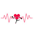 heart character goes running with heart rate vector image vector image