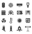 heating system black glyph icons set vector image