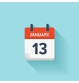 January 13 flat daily calendar icon Date vector image vector image