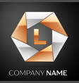 letter l logo symbol in the colorful hexagon on vector image vector image