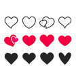 love heart icon loving hearts red like and vector image