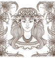 portrait gypsy woman with flowers vector image