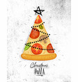 poster christmas tree pizza vector image vector image