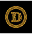 premium elegant capital letter d in a round frame vector image vector image