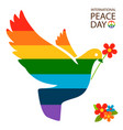 rainbow dove with flower vector image vector image