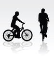 recreation on bike silhouette vector image