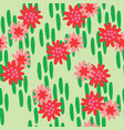 red flowers green backgound seamless vector image