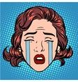 Retro Emoji tears crying sorrow woman face vector image