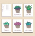 set of ready-to-use gift postcards with succulents vector image