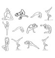 set of women doing yoga in different poses vector image vector image