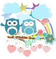 set - owls birds flowers sky cloud vector image