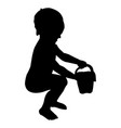 silhouette of a child in a cap vector image vector image