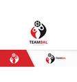 soccer and people logo combination ball vector image vector image