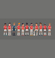 soccer team lineup in trendy flat style character vector image