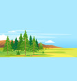 spruce forest mountain landscape background vector image vector image