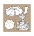 summer time vacation attributes - umbrella vector image vector image