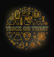 trick or treat round yellow outline vector image