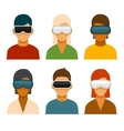Virtual Reality Glass Avatar Set vector image vector image