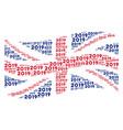 waving british flag mosaic of 2019 year text icons vector image vector image