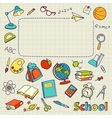 School doodle on the page with space for text vector image