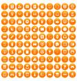 100 app icons set orange vector image vector image