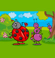 ant and ladybug insect cartoon characters vector image