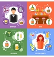 Bar Concept 4 Flat Icons Square vector image
