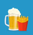 beer and french fries vector image vector image