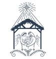 bible scene the nativity black icon vector image vector image