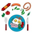 Breakfast with groceries and fried eggs vector image