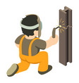 builder welder icon isometric 3d style vector image vector image