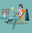 cartoon businessman relaxing with cocktail vector image vector image