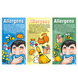 cartoon colorful allergy vertical banners vector image vector image