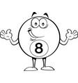 cartoon happy billiard eight ball vector image vector image